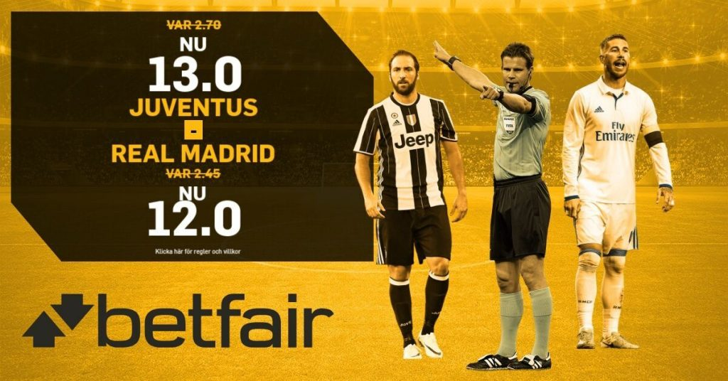 juventus real madrid boostade odds
