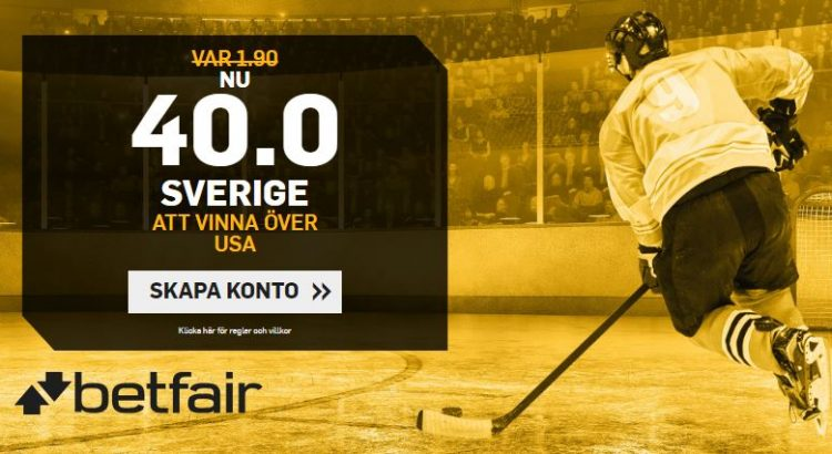 oddsboost betfair tre kronor usa hockey-vm