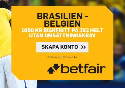 betfair gratisspel brasilien belgien fotbolls vm 2018