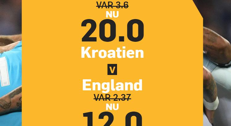 Betfair boostar oddsen på Kroatien och England i VM-semifinalen.