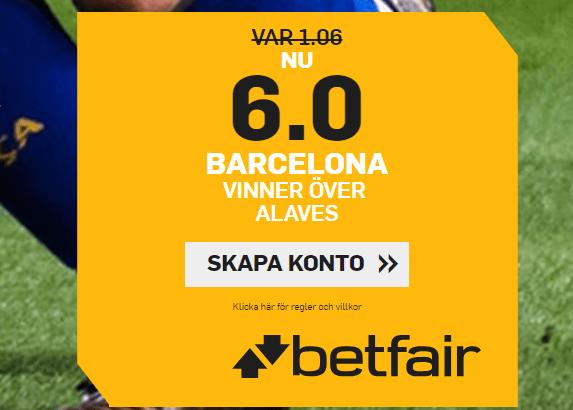 6.0 oddsboost på barcelona vs alavez
