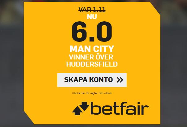 oddsboost på city vs huddersfield