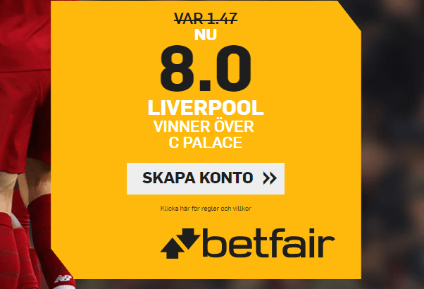 oddsboost på liverpool vs crystal palace