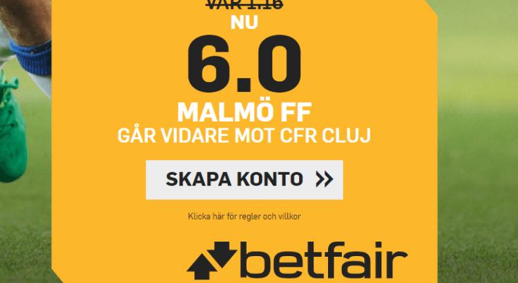 Betfair boostar Malmös odds mot CFR Cluj i CL-kvalet.