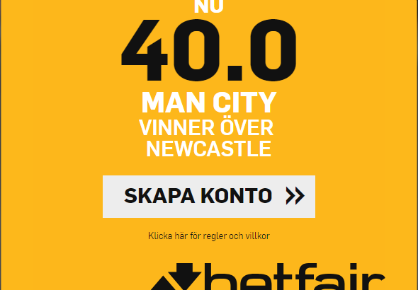 Betfair boostar citys odds mot Newcastle