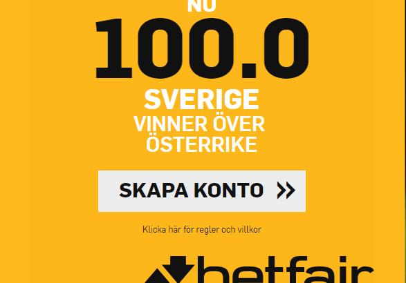 Sverige Österrike boost Betfair