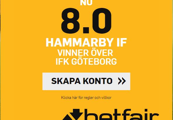 Hammarby boost vs Göteborg Betfair