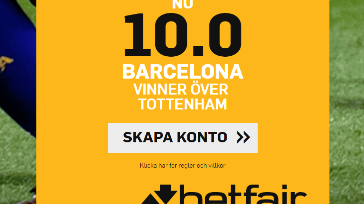 Betfair boost Barcelona vs Spurs CL