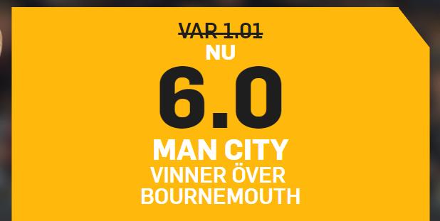 boostade odds manchester city bournemouth