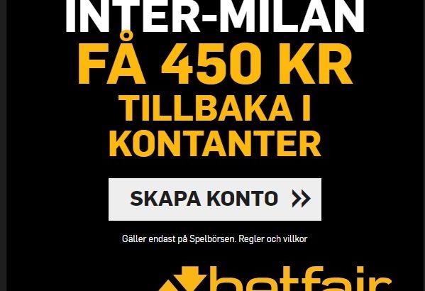 450 SEK tillbaka vid förlust hos Betfair