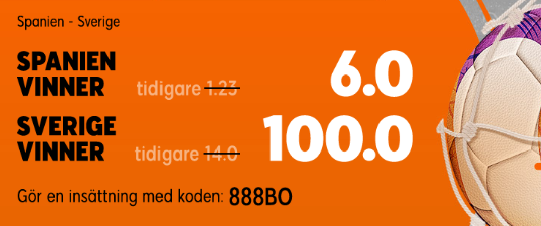 888 oddsboost Spanien - Sverige kval inför EM 2020