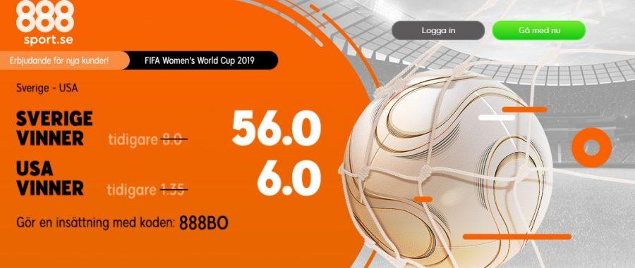 oddsboost 888Sport Sverige - USA