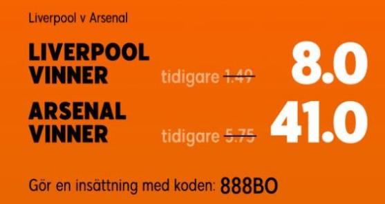 Oddsboost inför Liverpool - Arsenal